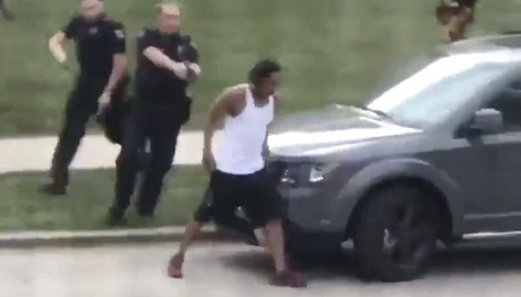 A still image from a cell-phone video shows Jacob Blake walking away from police moments before being shot seven times in the back in Kenosha on Aug. 23, 2020.