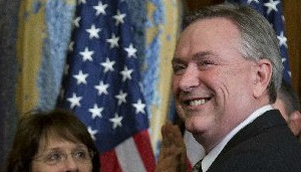 Steve Stockman, shown here at his swearing-in in January, recently aired a claim about a treaty mandating an international gun registry (Associated Press photo).