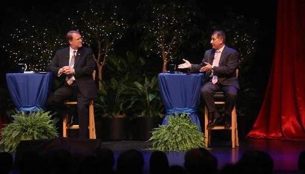 Mayor Bill Foster and challenger Rick Kriseman faced off in the Tampa Bay Times/Bay News 9 mayoral debate on Oct. 15, 2013. Photo by Chris Zuppa | Tampa Bay Times.