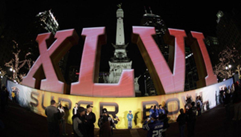 Super Bowl XLVI sign in Indianapolis