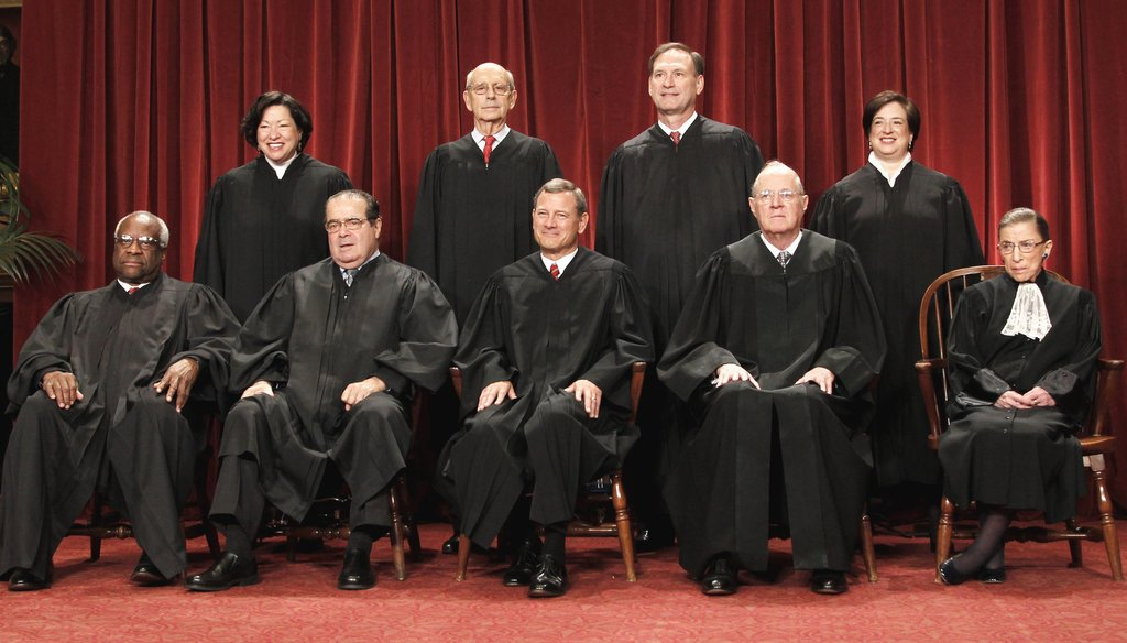 The Supreme Court justices as seen in 2010.