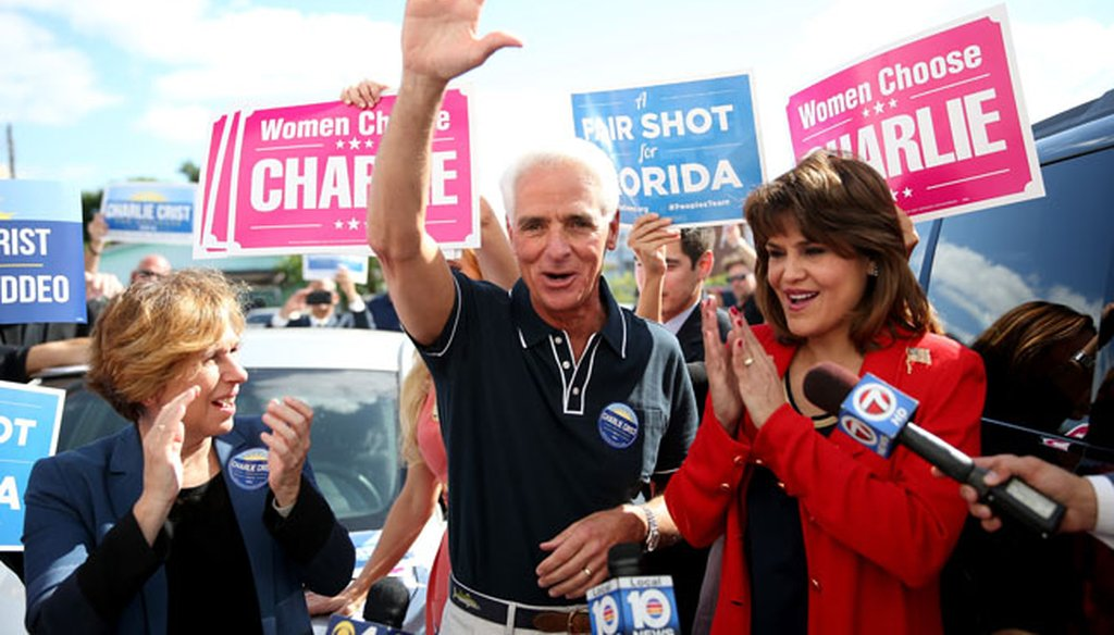 Annette Taddeo, right, campaigned for lieutenant governor with Democratic gubernatorial candidate Charlie Crist in Miami on Nov. 3, 2014. (Getty Images photo)