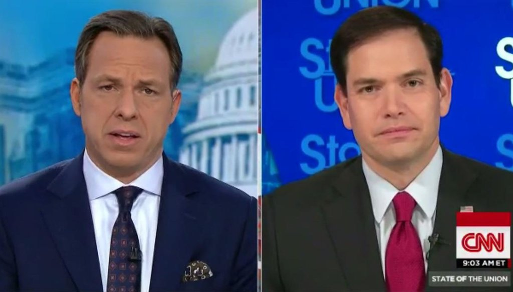 """Jake Tapper grills Sen. Marco Rubio, R-Fla., on Syria, gun control and terrorism on the Dec. 6, 2015, edition of """"State of the Union."""" (Screengrab)"""