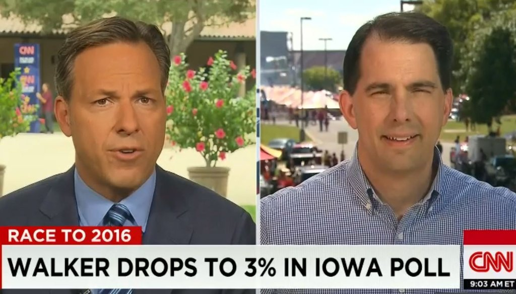 """Gov. Scott Walker, R-Wis., talked about his record in an interview with Jake Tapper on CNN's """"State of the Union."""" (Screengrab)"""