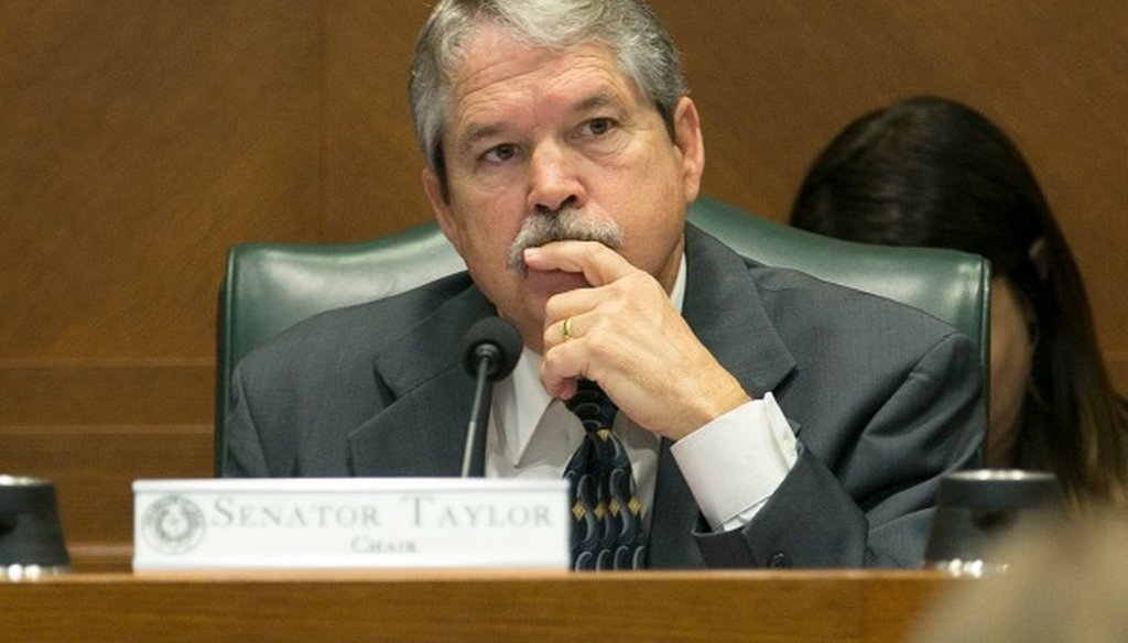 State Sen. Larry Taylor, chairman of the Senate Education Committee, listens during the panel's March 2017 hearing on his educational savings account legislation (Deborah Cannon, Austin American-Statesman).