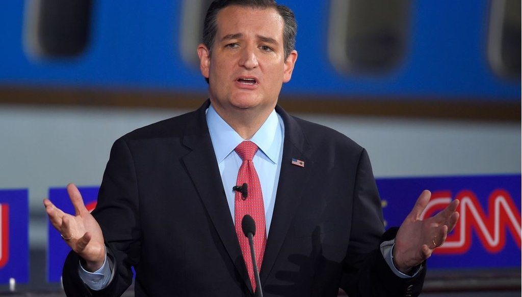 Republican presidential candidate, Sen. Ted Cruz, R-Texas, speaks during the CNN Republican presidential debate at the Ronald Reagan Presidential Library and Museum Sept. 16, 2015, in Simi Valley, Calif. (AP Photo/Mark J. Terrill)