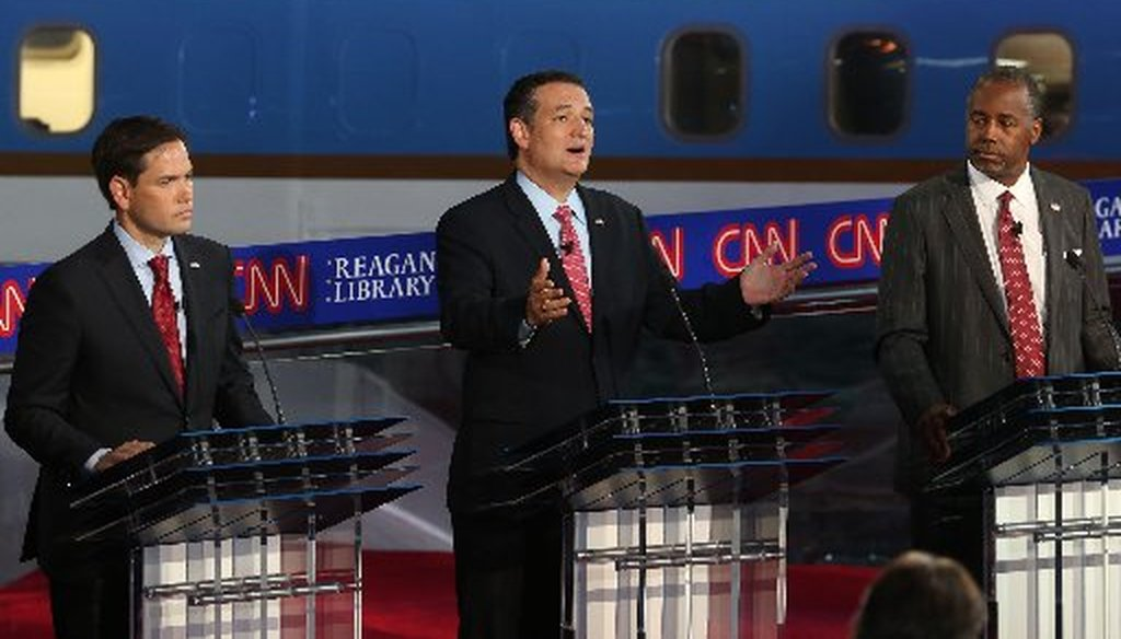 Ted Cruz of Texas had a few moments in the 11-candidate debate in California Sept. 16, 2015 (Getty Images photo).
