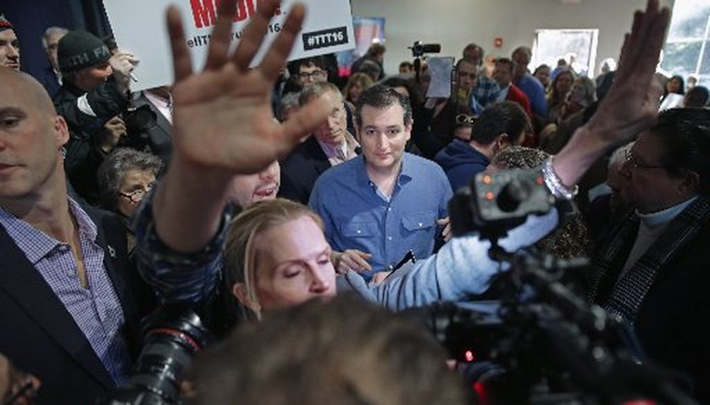 """Sen. Ted Cruz, shown here at a church in Bow, N.H., sent mailers to Iowa voters purporting to show crummy participation in past elections. Were the """"scores"""" ginned up? (Getty Images photo)."""