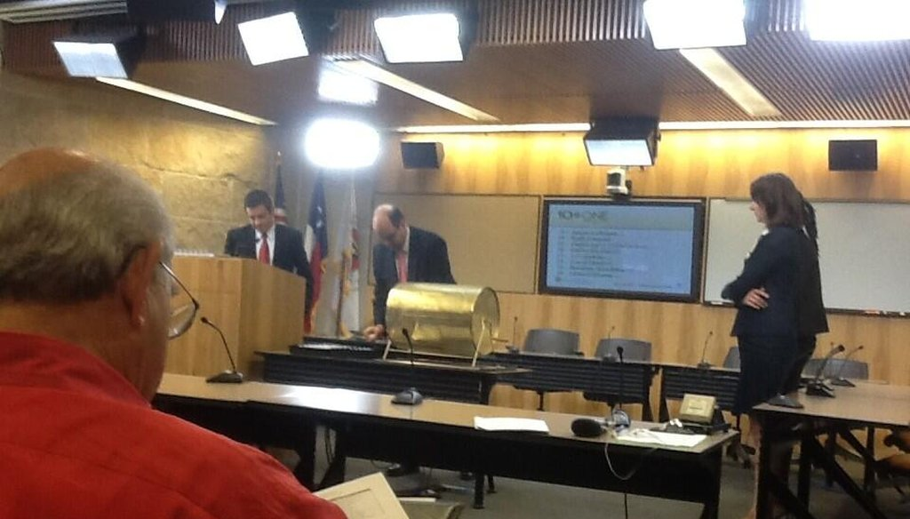 Names are drawn for the first members of Austin's district-drawing commission in this photo live-tweeted on the @austintexasgov account May 22, 2013. Alan McQuinn photo / City of Austin