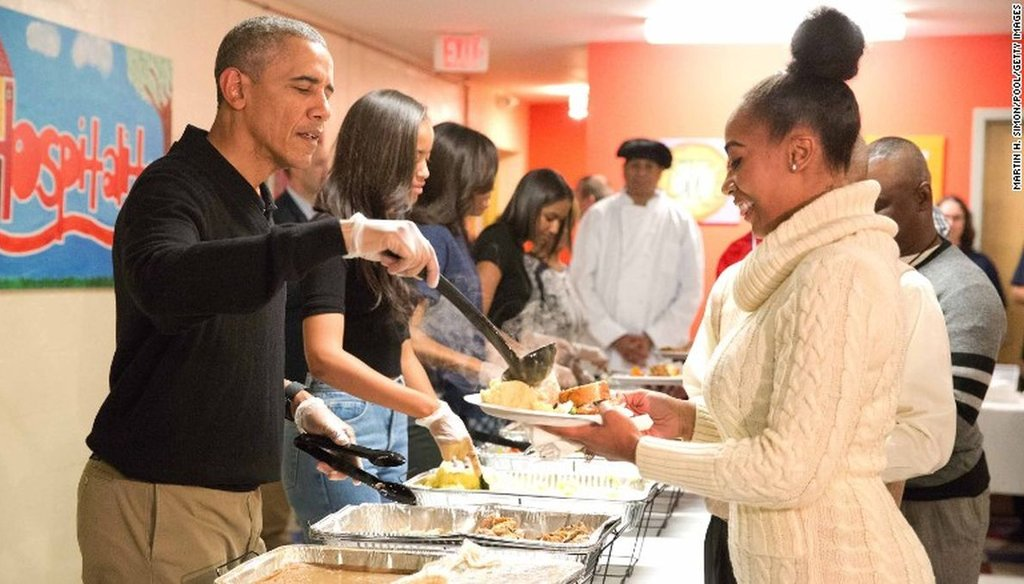 This photo of former President Barack Obama purportedly helping Hurricane Harvey victims was actually taken in Washington, D.C. on Nov. 25, 2015.