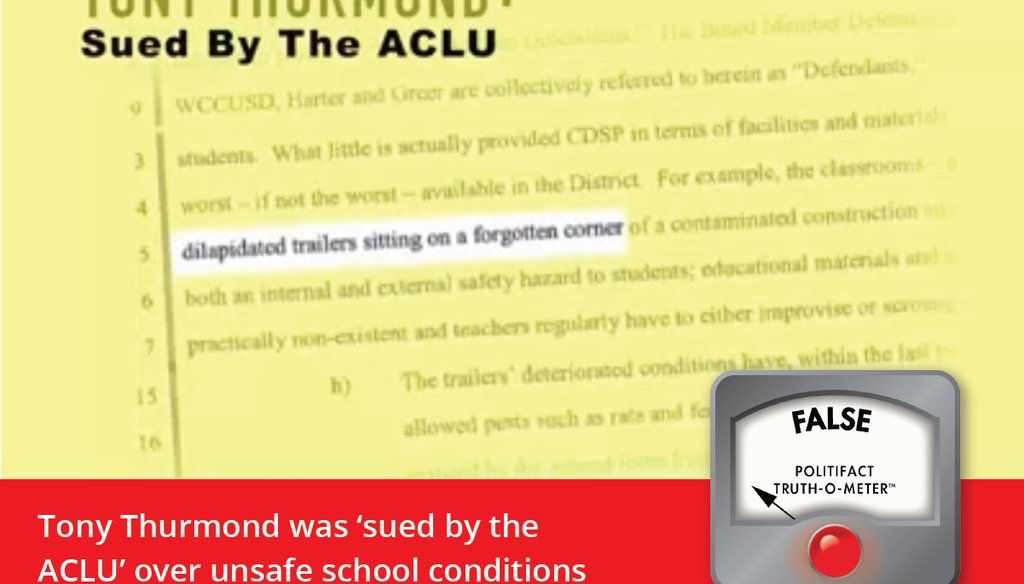 A recent TV attack ad by a group supporting Marshall Tuck falsely suggests Tony Thurmond was singled-out by the ACLU in a lawsuit.