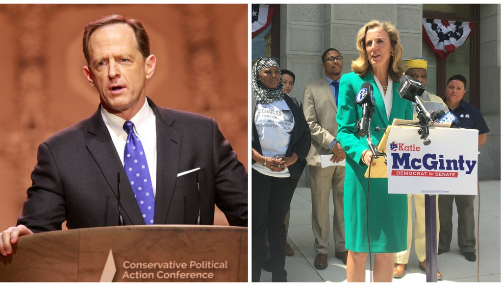 Left: Pat Toomey Right: Katie McGinty