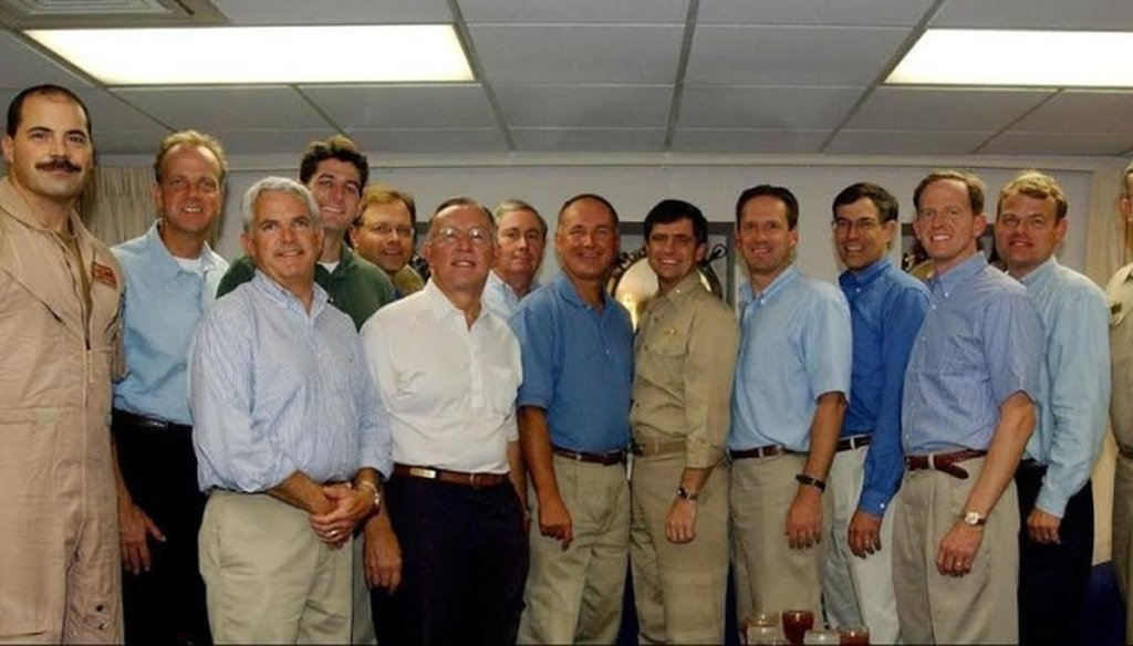 Sen. Pat Toomey, fourth from the right, visits Joe Sestak, center, in the Gulf in 2002. Current Speaker of the House Paul Ryan, fourth from the left, was also present. Provided by Joe Sestak's campaign.