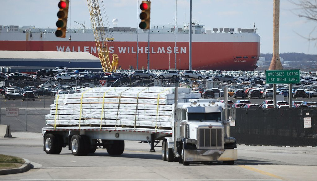 A loaded truck leaves the Dundalk Marine Terminal on March 9, 2018 in Baltimore, Maryland. U.S. President Donald Trump announced that he will impose tariffs of on imported steel and aluminum with some exemptions. (Getty)