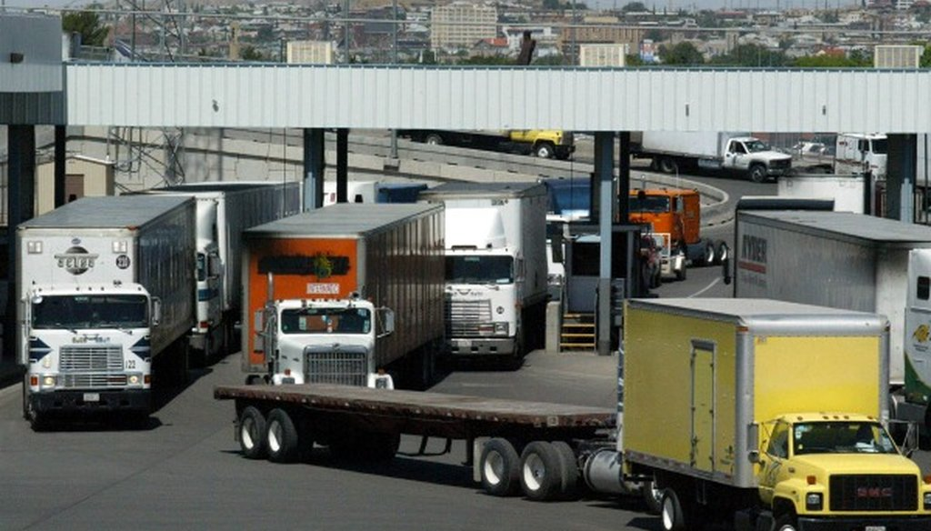 Rep. Roger Williams, R-Austin, said a lot of trucks enter the U.S. from Mexico without inspection. Mostly False, we found. (Associated Press photo, June 2004, El Paso).