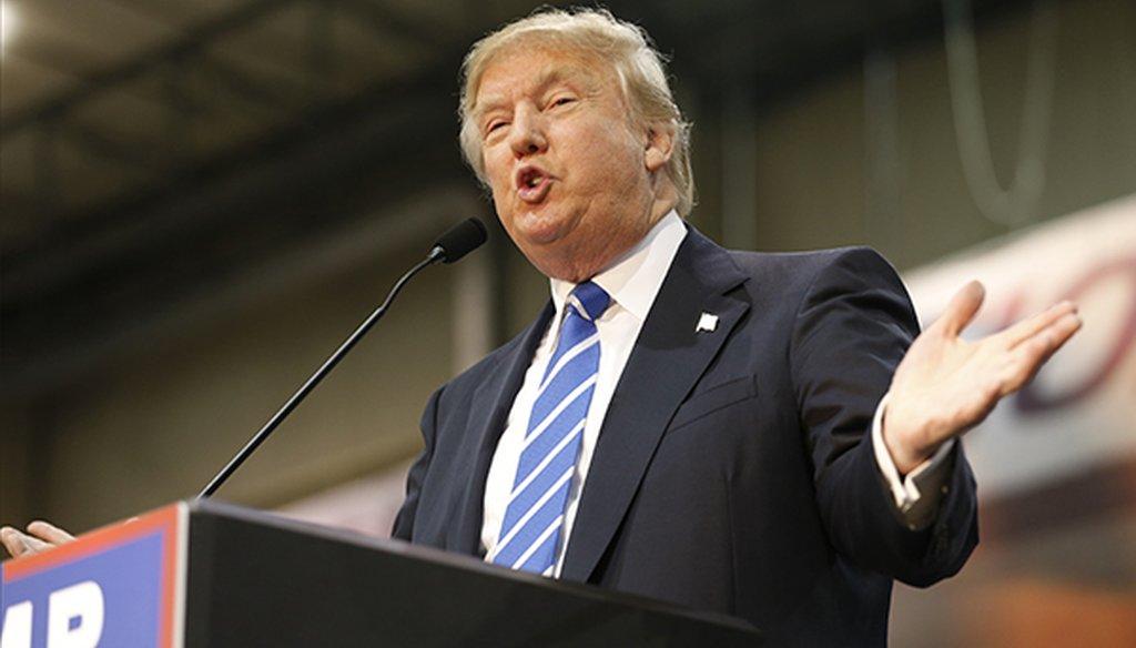 Republican presidential candidate Donald Trump speaks during the CNN presidential debate at The Venetian Las Vegas on Dec. 15, 2015 in Las Vegas. (Getty)