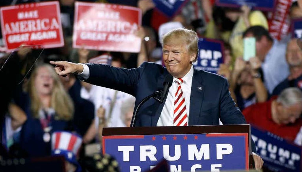 Republican presidential nominee Donald Trump points out to the crowd of supporters at a campaign rally  in Prescott Valley, Arizona. (Getty Images)