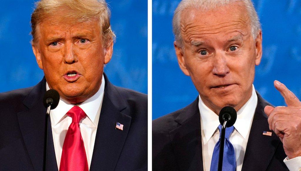 Donald Trump and Joe Biden at the final 2020 presidential debate. (AP)