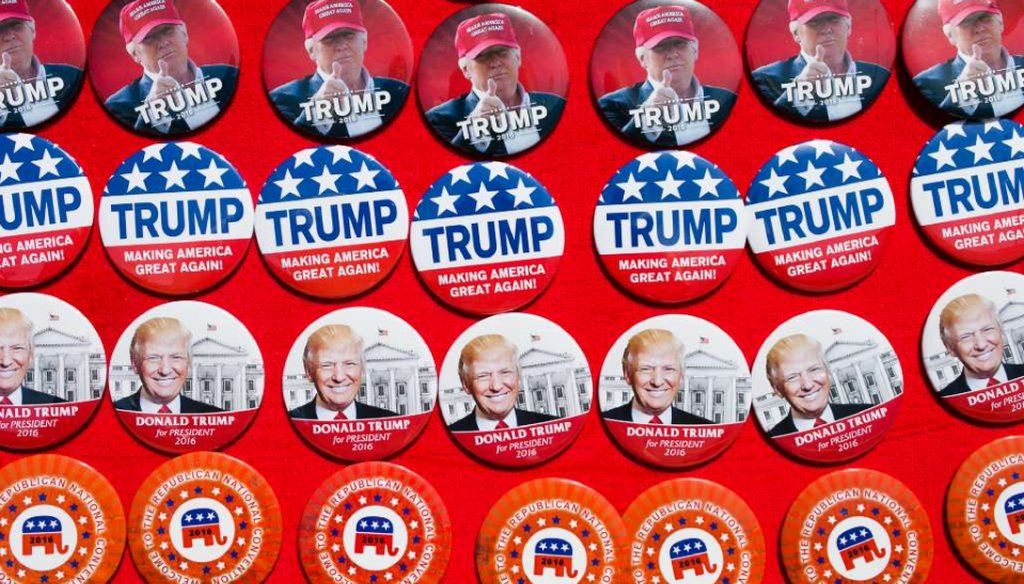 Pins supporting Republican presidential candidate Donald Trump are for sale at a campaign rally June 1, 2016 in Sacramento, Calif. (Elijah Nouvelage/Getty Images)