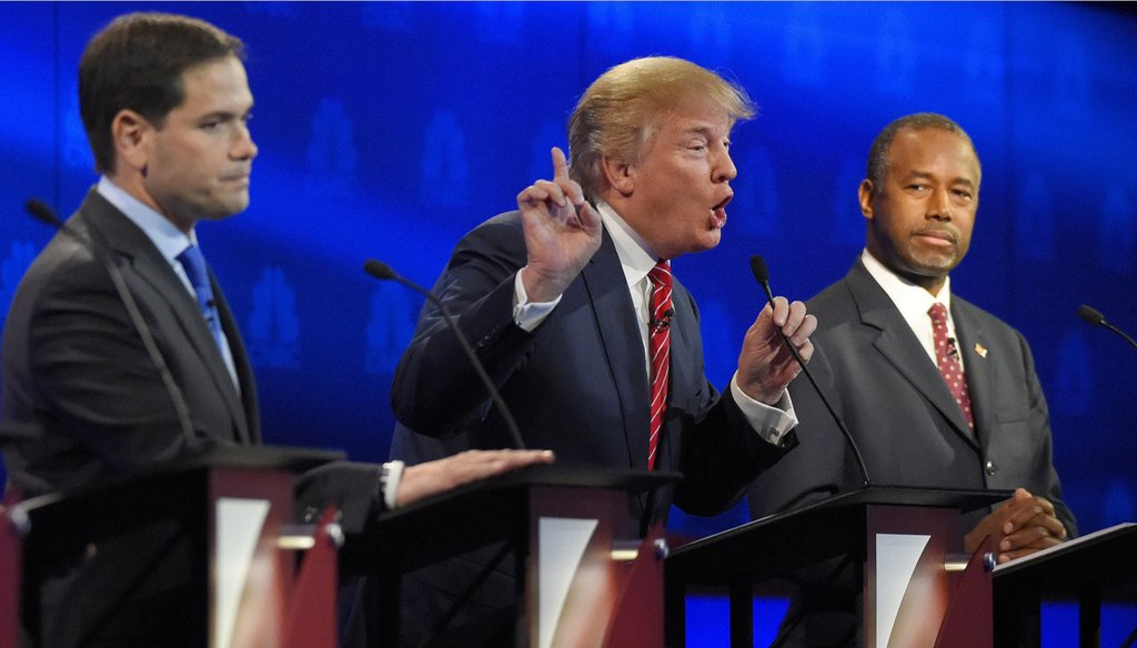 Republican presidential candidate Donald Trump makes a point at the third GOP debate, hosted by CNBC in Boulder, Colo., Oct. 28, 2015. (Mark J. Terrill/AP)