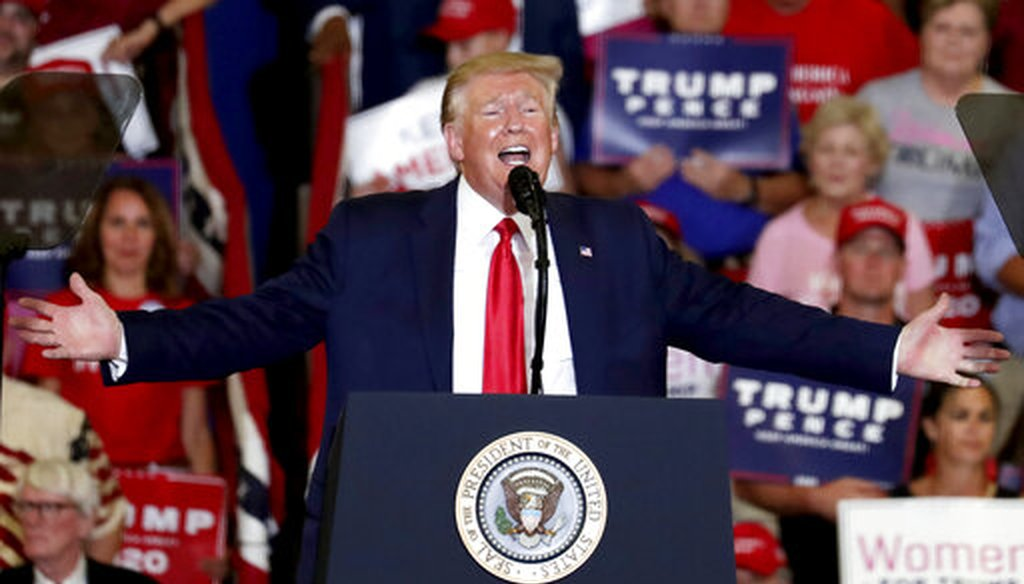 President Donald Trump speaks at a campaign rally in Fayetteville, N.C., on Sept. 9, 2019. (AP/Seward)