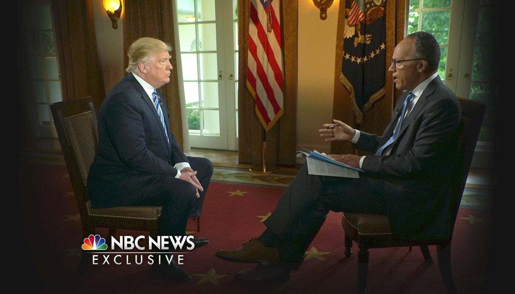NBC's Lester Holt interviews President Donald Trump May 11, 2017. (Joe Gabriel/NBC News via AP)