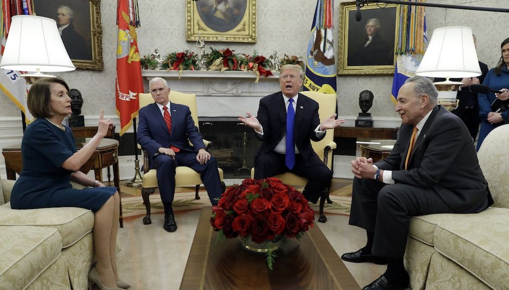 President Donald Trump and Vice President Mike Pence meet with Senate Minority Leader Chuck Schumer, D-N.Y., and House Minority Leader Nancy Pelosi, D-Calif., in the Oval Office on Dec. 11, 2018. (AP)