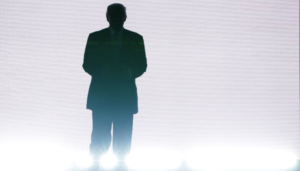 Presumptive Republican presidential nominee Donald Trump enters the stage to introduce his wife Melania on the first day of the Republican National Convention on July 18, 2016 at the Quicken Loans Arena in Cleveland, Ohio. (Getty)
