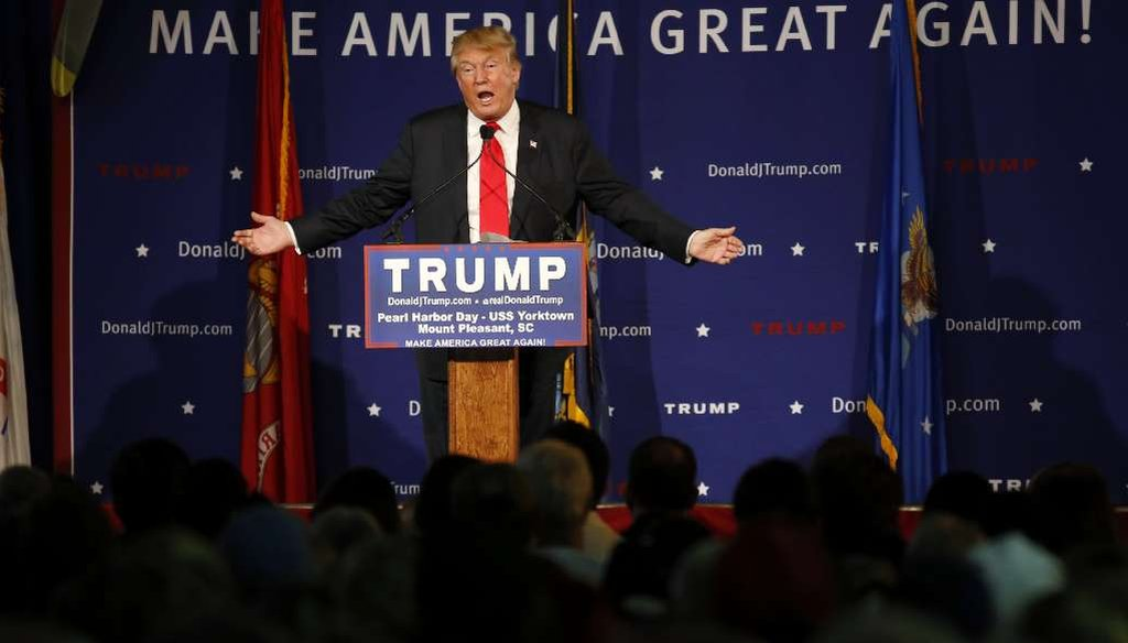 Republican presidential candidate Donald Trump speaks during a rally in Mt. Pleasant, S.C., Dec. 7, 2015. (AP Photo/Mic Smith)