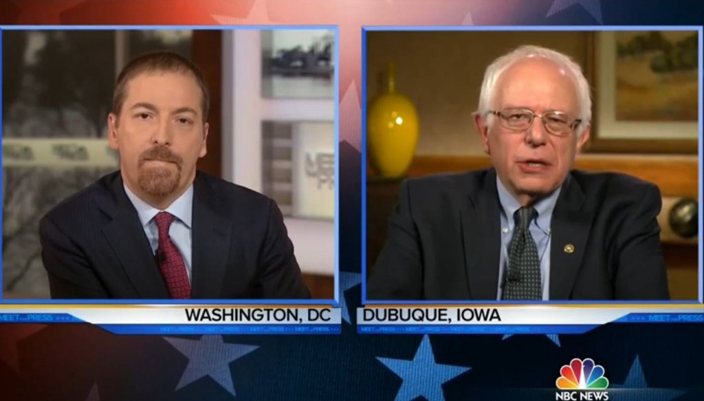 "Sen. Bernie Sanders said he can take Donald Trump in the general election, criticizing Trump for his climate change claims Jan. 24 on ""Meet the Press."" (Screengrab)"
