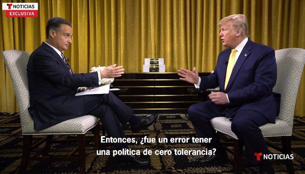 Screenshot of President Donald Trump interview with Telemundo anchor José Díaz-Balart. Interview aired June 20, 2019.