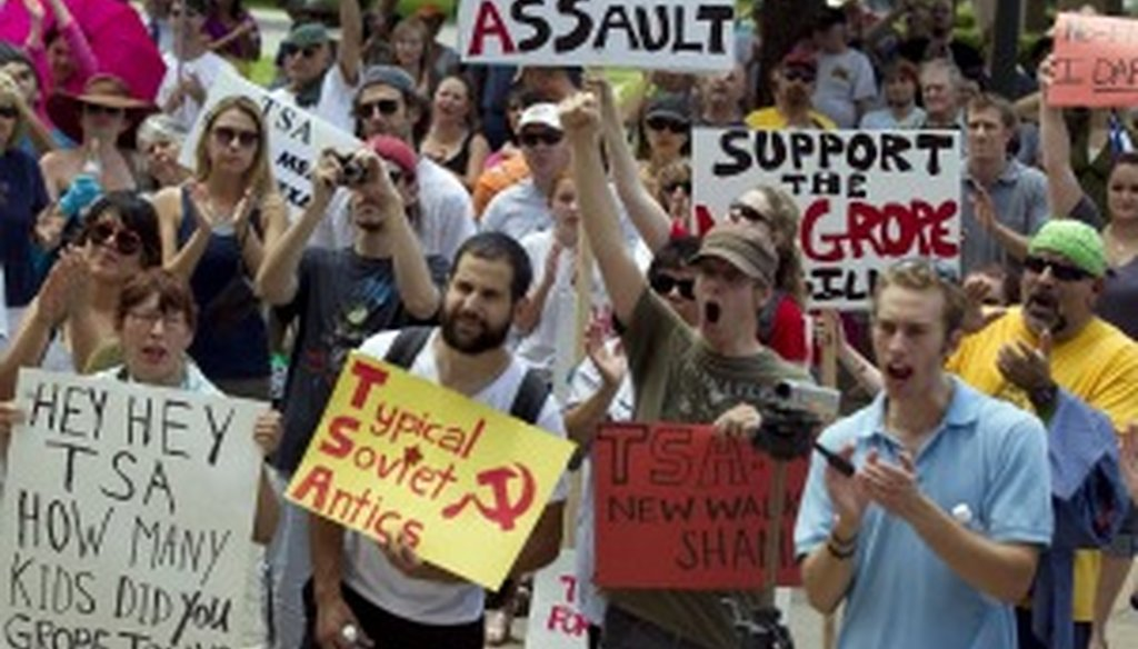 Texans show their support at the Texas Capitol on June 4 for legislation that would prohibit invasive pat-downs at airport security checkpoints.