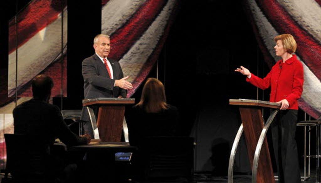 Republican Tommy Thompson and Democrat Tammy Baldwin debated in Wausau in the second of three scheduled U.S. Senate debates.