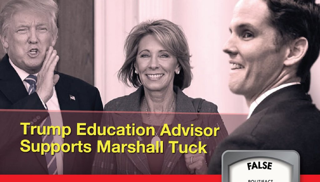 A Tony Thurmond campaign ad falsely suggests U.S. Secretary of Education Betsy DeVos supports Marshall Tuck.