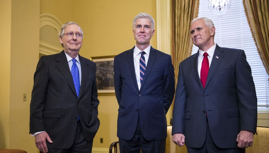 From left: Senate Majority Leader Mitch McConnell (R-Ky.), Judge Neil Gorsuch; the Supreme Court nominee and Vice President Mike Pence meet in in McConnell's office in the U.S. Capitol, in Washington, Feb. 1, 2017. (Al Drago/The New York Times)