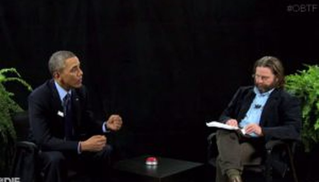 "President Barack Obama plugged healthcare.gov on ""Between Two Ferns"" with Zach Galifianakis."