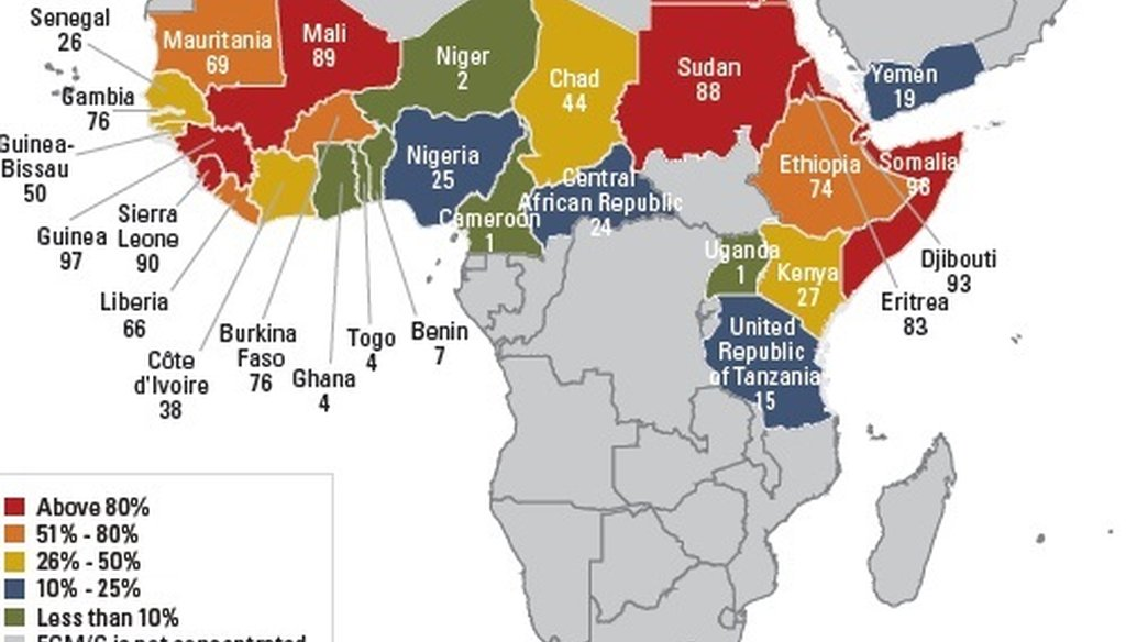 """Reza Aslan tweeted this map from a UNICEF report to bolster his point about female genital mutilation being a """"central Africa,"""" and not Islamic, problem."""