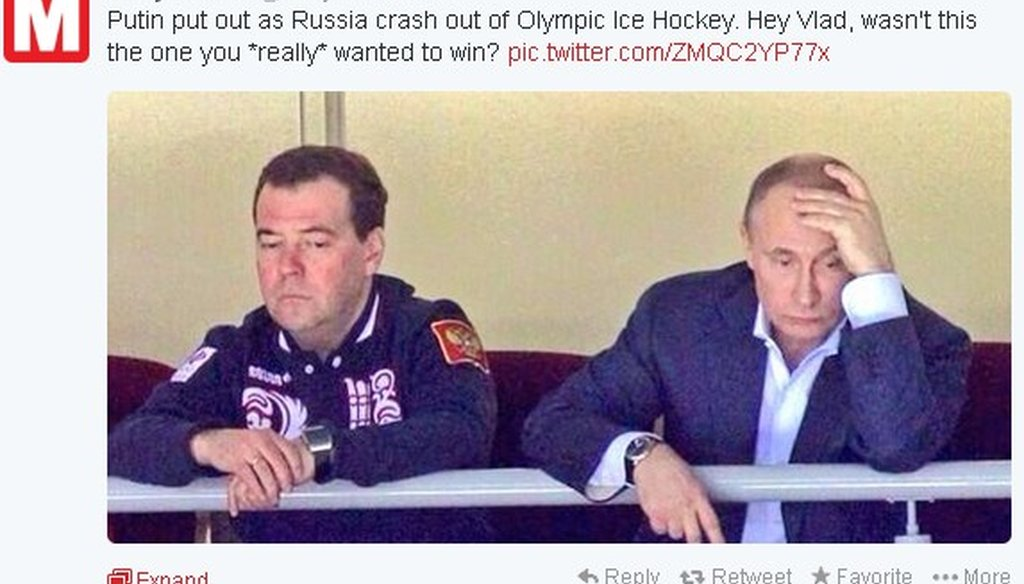 After the Russian hockey team was bounced from the Olympics hockey tournament without a medal Wednesday, a picture of a sad-looking Vladimir Putin and Dmitry Medvedev started making the rounds on Twitter.
