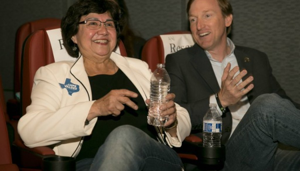 Democratic gubernatorial aspirant Lupe Valdez, shown here in April 2018 with hopeful Andrew White, made a Mostly True claim about poverty in the place she grew up (PHOTO: Jay Janner, Austin American-Statesman).