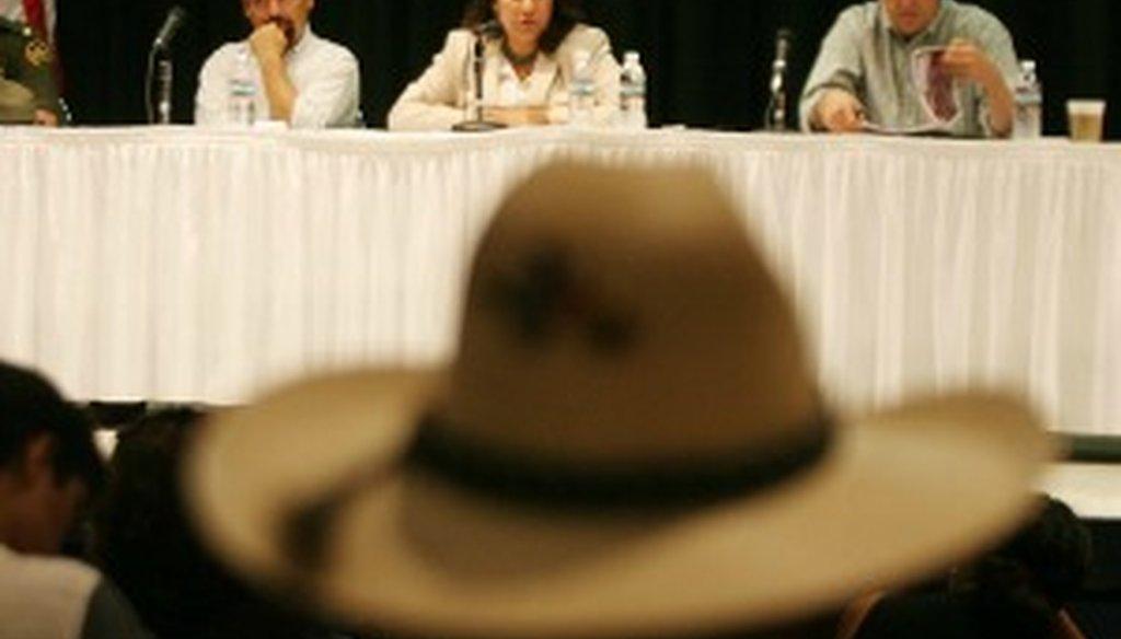 Veronica Escobar spoke about the U.S.-Mexico border fence at a 2008 gathering in El Paso (El Paso Times photo).