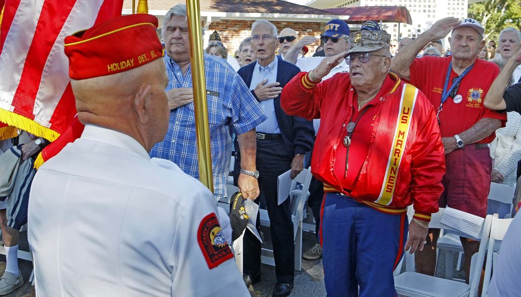 Korean War Marine veteran Alen Elfman salutes with other veterans as the Morris F. Dixon, Jr., Detachment Marine Corps League presents the colors during Veterans Day Services Nov. 11th, 2016, in Palm Harbor, Fla. (Jim Damaske/Tampa Bay Times)