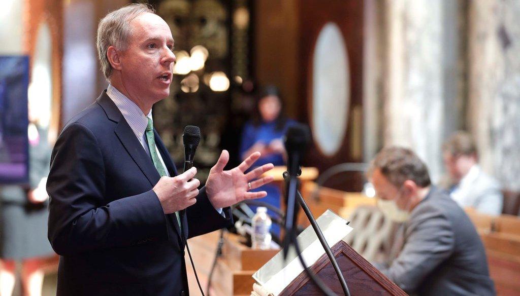 Robin Vos, Speaker of The Wisconsin Assembly, explains proposed coronavirus legislation in April 2020. (Rick Wood/Milwaukee Journal Sentinel)