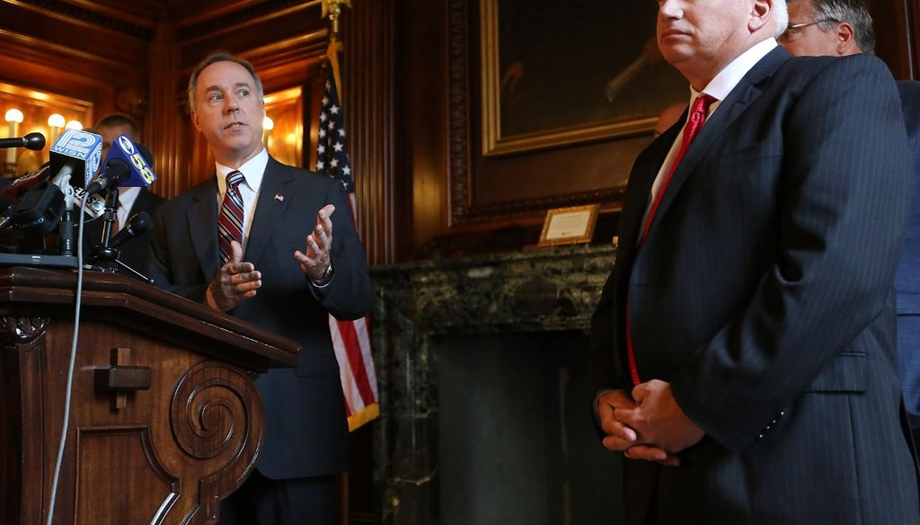 Wisconsin Assembly Speaker Robin Vos, R-Rochester, left, speaks at a 2015 press conference as Senate Majority Leader Scott Fitzgerald, R-Juneau, looks on. The legislative leaders blamed Evers for potential Foxconn changes in a Jan. 30, 2019, statement.