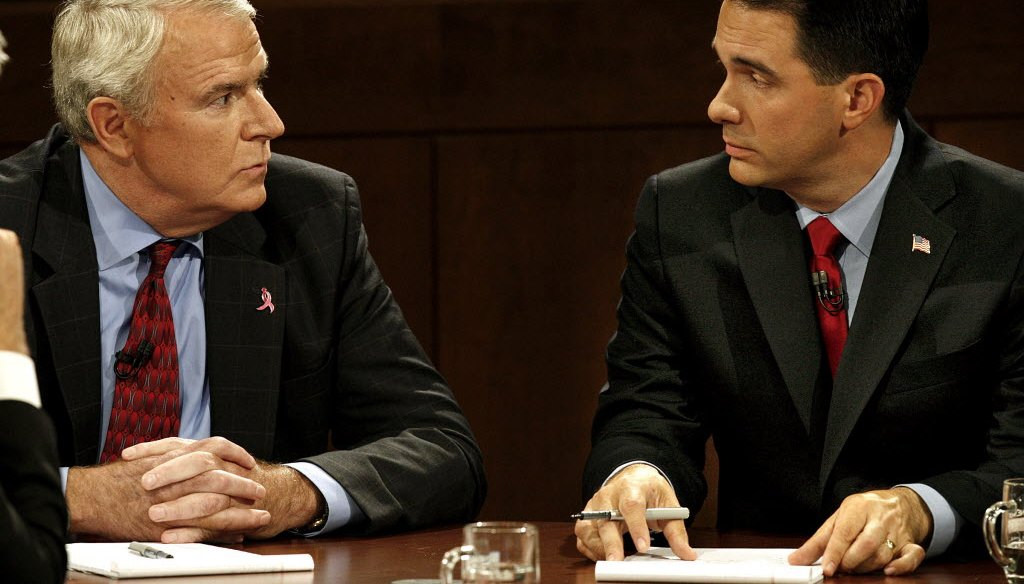 Scott Walker and Tom Barrett faced off in a second gubernatorial debate, at Marquette University Law School, on Oct. 15, 2010. Journal Sentinel file photo.