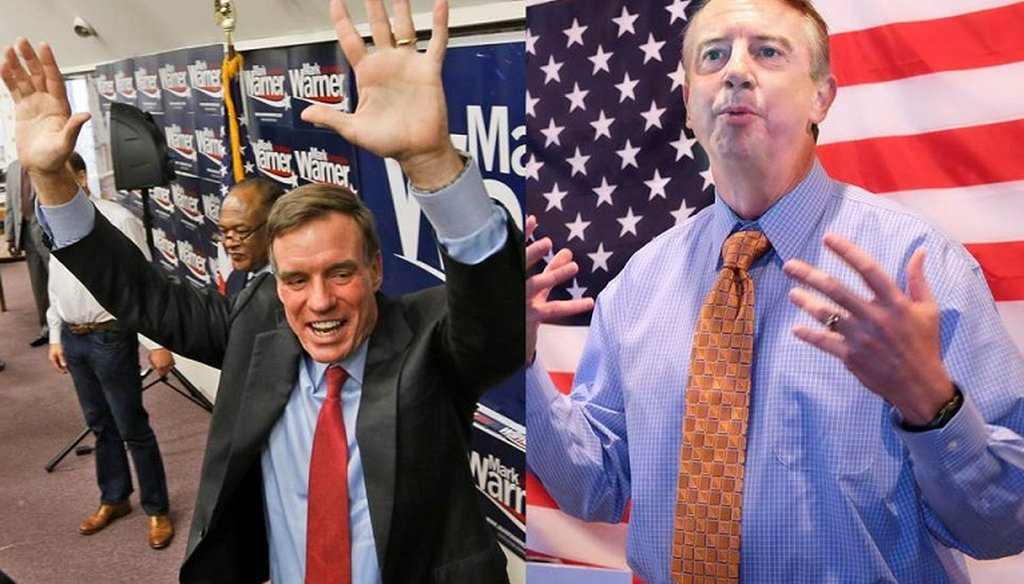 U.S. Sen. Mark Warner, D-Va., left, and Republican challenger Ed Gillespie speak at rallies during the last weekend of campaigning.