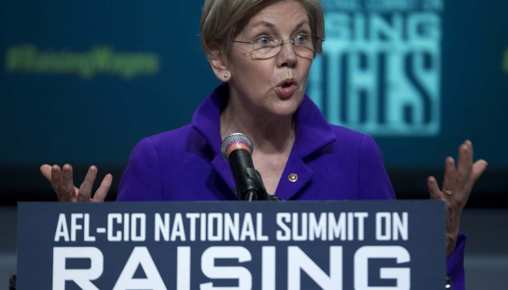 Sen. Elizabeth Warren, D-Mass., speaks about raising wages during the forum AFL-CIO National Summit Jan. 7.