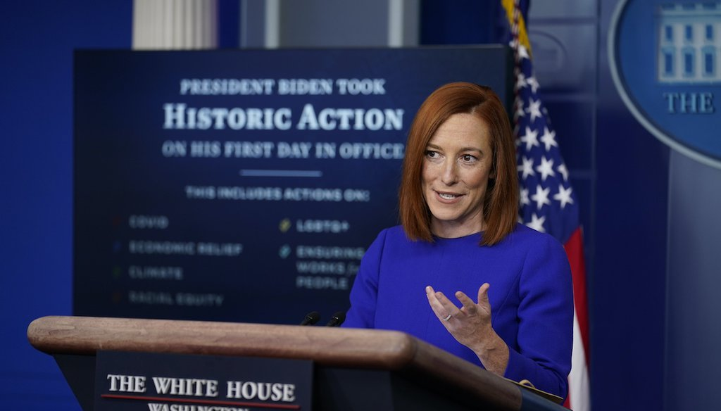 White House press secretary Jen Psaki speaks during her first press briefing at the White House, Jan. 20, 2021. (AP)