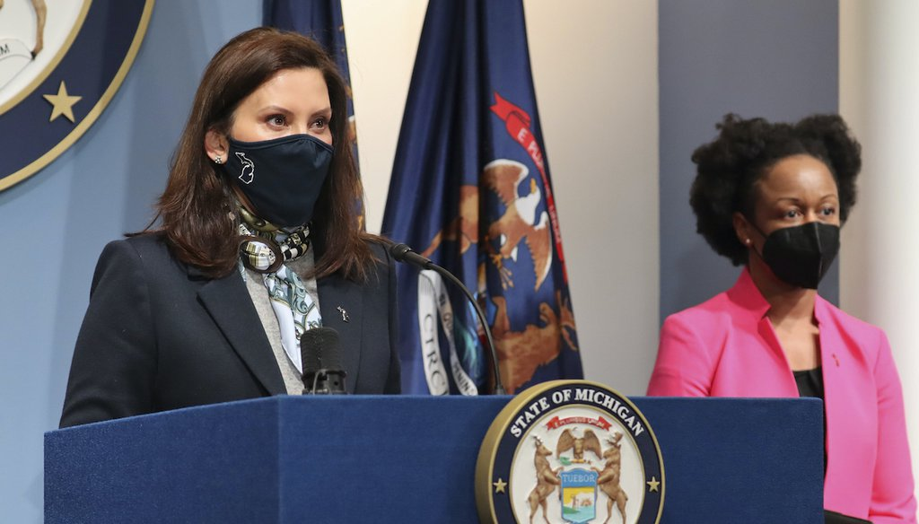 Michigan Gov. Gretchen Whitmer, with state Chief Medical Officer Dr. Joneigh Khaldun, addresses the COVID-19 crisis, April 14, 2021, in Lansing (Office of the Governor via AP)