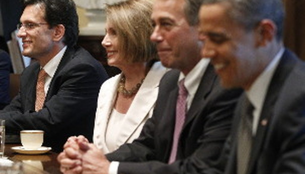 Political leaders dsicuss debt reduction at a recent White House meeting. From left, House Majority Leader Eric Cantor, R-Va., House Minority Leader Nancy Pelosi, D-Calif., Speaker John Boehner, R-Ohio, and President Barack Obama.