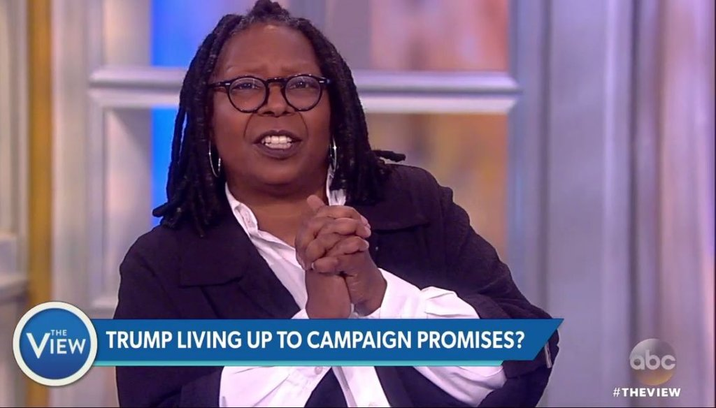 Whoopi Goldberg discusses Donald Trump's first week in office on ABC's 'The View,' on Jan. 25, 2017. (Screenshot from ABC recording)